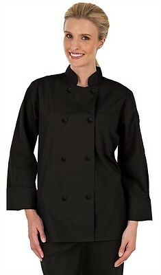 Womens Chef Coat Basic Fit Knotted Cloth Buttons 100% Cotton Black Large L