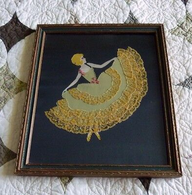 Antique Vintage Framed Textile Cloth & Lace Art Woman Ballerina Stitched Fabric