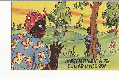 ANTIQUE 1942 / Curt Teich / BLACK AMERICANA POSTCARD / NOS / RARE / LINEN / LOOK