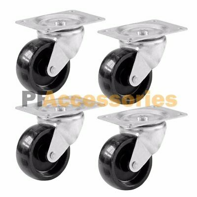 "4 Pcs 2"" Swivel Caster Wheels Hard Rubber Base with Top Plate & Bearing Set"