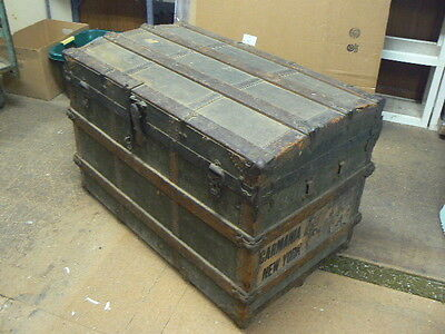 Antique R.H.Macy Round Top Steamer Trunk Chest, Cunard Line RMS Carmania Labels