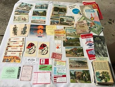 Large lot of PAPER EPHEMERA ticket stubs, Cuba Post Cards 1950s, travel guides,