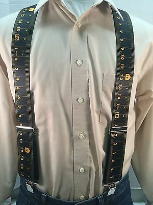 "New, Men's, Black Measuring Tape, XL, 2"",Adj. Suspenders / Braces, Made in USA"