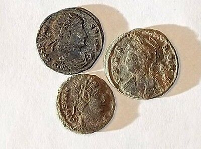 3 ANCIENT ROMAN COINS PREMIUM AE3 - Uncleaned and As Found! - Unique Lot 19901