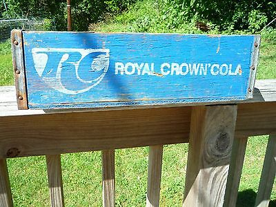 Rare Blue Vintage Royal Crown Rc Wooden Soda Crate  Metal Edged 12 Dividers
