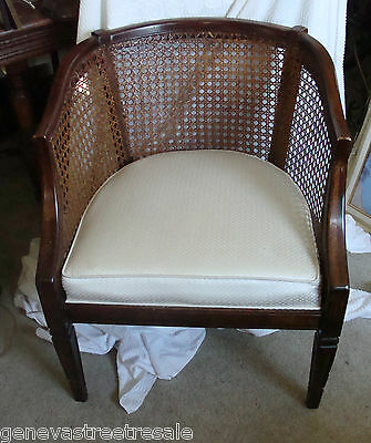 Barrel Cane Chair Hollywood Regency Mid-century Modern French Provincial