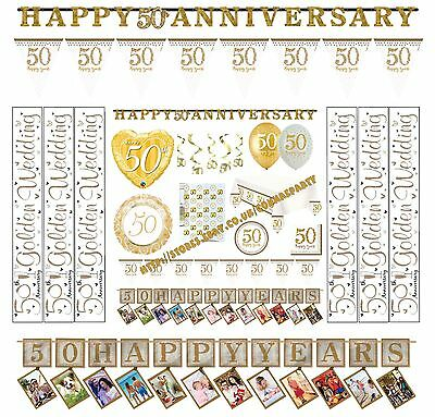 Happy 50th Golden Wedding Anniversary Party Banners Balloons Bunting Decoration