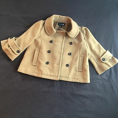 FOREVER 21 Womens Size M Jacket Tan Cotton Wool Short Trench Pea Coat Style
