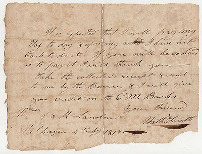 Antique 1817 Signed Revolutionary War Major Nathaniel Smith Tax Account Settle