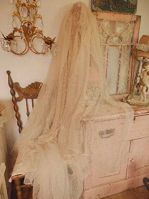 Fab! Vintage French Tambour Net Lace Bedspread Coverlet Bed cover ~  Embroidery