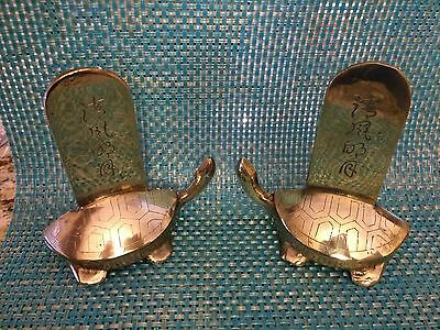 """5 1/8"""" Vintage Brass TURTLE BOOK ENDS - Asian Symbol Etching"""