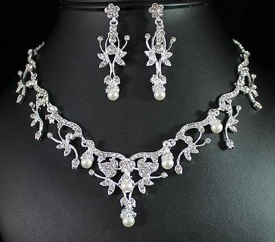 Vine Leaves Clear Austrian Rhinestone Pearl Necklace Earrings Set Bridal N1384