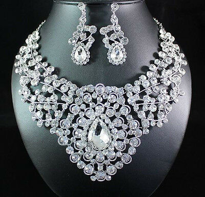 Venus Clear Austrian Rhinestone Bib Statement Necklace Earring Set Bridal N1671C
