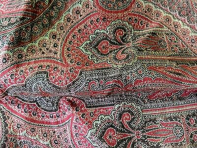 "Antique Wool Paisley Tablecloth Piano Shawl Cover 70""x 70"" Estate Find"