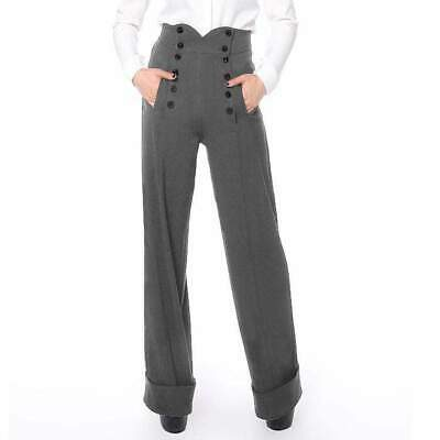 Chic Star 1940's High Waisted Grey Trousers Pants Vintage Retro Rockabilly Pin U