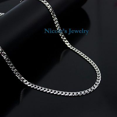Men's Genuine Solid Stainless Steel High Polished Curb Link Chain Necklace 5mm