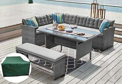 Rattan Corner Garden Sofa 9 Seater Dining Table Set Furniture Grey Free Delivery