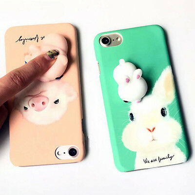 3D Toy Rabbit Pig Squeeze Pressure Release Hard Phone Case For iPhone 5 6 7 Plus
