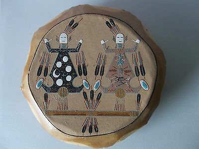 Navajo Native American Sand Painting Drum Father Sky Mother Earth
