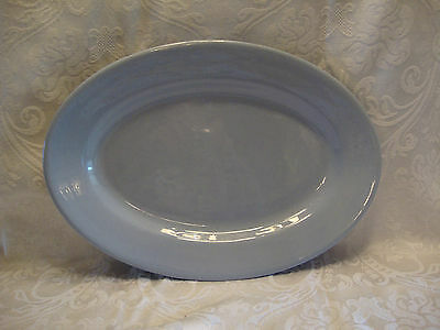 VINTAGE BUFFALO CHINA BLUE LUNE WARE OVAL SERVING PLATTER -  14.5 X 10 inches