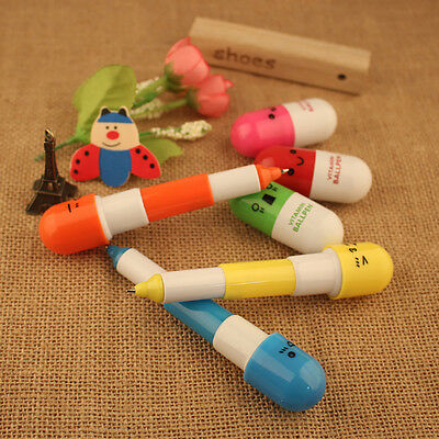 5Pcs Cute Mini Smiling Face Vitamin Capsule Ballpen Pill Ball Point Novelty Pens
