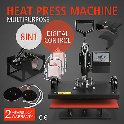 8In1 T-Shirt Heat Press Transfer Sublimation Clamshell Pressing Mug Cup Pro