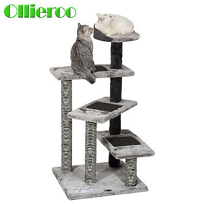 Ollieroo 40'' Cat Climbing Frame Ladder Scratching Wood Tree Kitty Play House