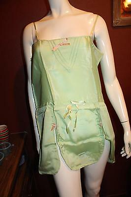 1920s Green Silk and Lace One Piece Step-in chemise NOS