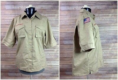 BOY SCOUTS OF AMERICA active wear Tan Short Sleeve Ladies Shirt LARGE 38/40