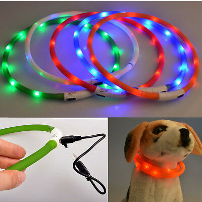 USB Luminoso Safety Collar De Perro LED Mascota Seguridad Luz Noche Flash