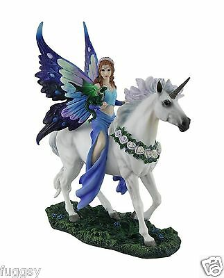 Realm of Enchantment Fairy Unicorn Dragon Ornament Anne Stokes Home Decor NEW