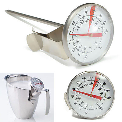 Stainless Steel Espresso Coffee Milk Frothing Thermometer Froth Frother Gauge