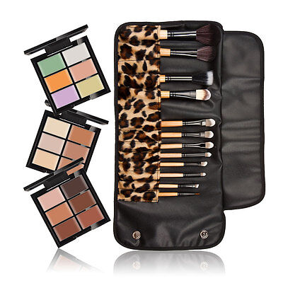 6 Colors Makeup Face Eyeshadow Camouflage Concealer Palette 12Pcs Cosmetic Brush