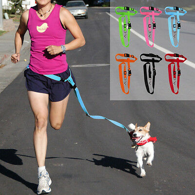 Easy Adjustable Hand free Dog Pet Walking Running Jogging Lead Leash Waist Belt