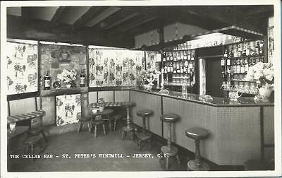 Real Photograph Postcard -  THE CELLAR BAR, ST PETERS WINDMILL, JERSEY