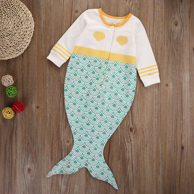 Mermaid Tail Newborn Baby Infant Girls Sleeping Bag Romper Clothes Outfits Set