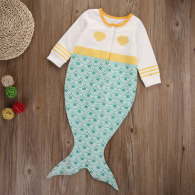 Kids Baby Mermaid Tail Blanket Knitted Sofa Wrap Snuggle-in Sleeping Bag Costume