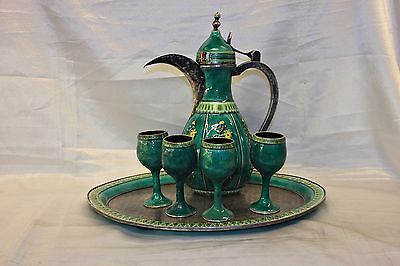 Antique Original Perfect Silver Enamel Arabian Islamic Coffee Set