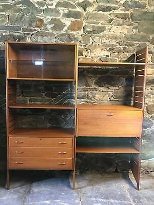 Vintage Retro Mid Century 2 Bay Teak Staples Ladderax Shelving
