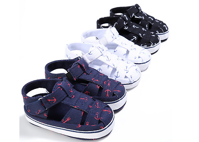 Newborn Baby Boys Soft Sole Navy Pram Shoes Toddler Summer Sandals Size 0-18 M