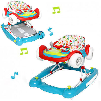 New My Child Multi Colour Musical Coupe Car Height Adjustable Baby Walker Rocker