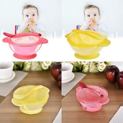 Baby Learning Feeding Suction Cup Bowl and Temperature Sensing Spoons Tableware
