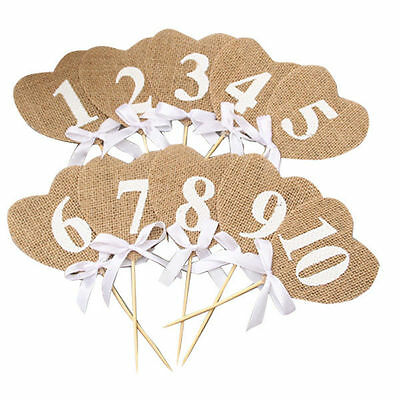 10Pcs Hessian Table Numbers 1-10 Linen Heart Rustic Wedding Party Vintage Style