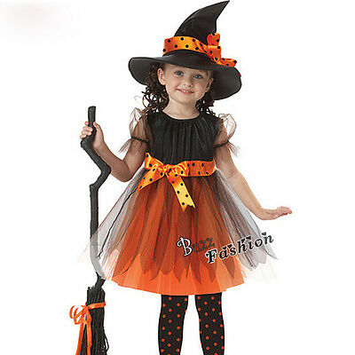 New Children Girls Halloween Cosplay Party Fancy Dress Witch Costume Suit Dress