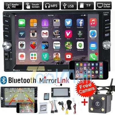 """7"""" HD Double 2DIN Bluetooth Touch Screen Car Radio Stereo MP5 MP3 Player HD+Cam"""