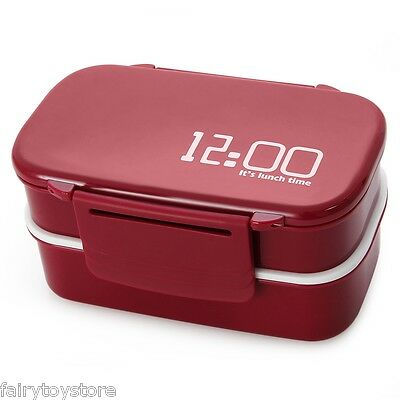 Japan Style 2 Tier Bento Lunch Box PP Cute Meal Box Tableware Microwave Oven New