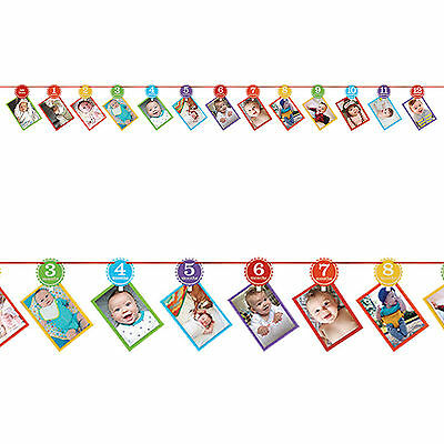 3.65m Rainbow Colours 1st Birthday Party Year One Photo Garland Decoration