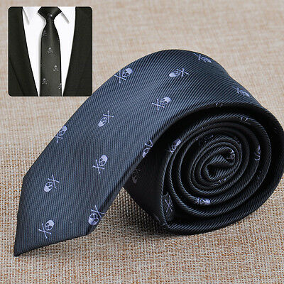 NEW Man's Fashion Black Skull Wedding Neck Tie Necktie Narrow Slim Skinny Party