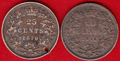 1870 & 1872H Canadian 25 Cents *F holed & F*