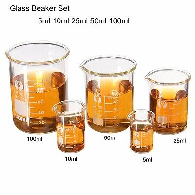AU 1 Set Glass Beaker 5ml 10ml 25ml 50ml 100ml Lab Glassware Borosilicate Glass